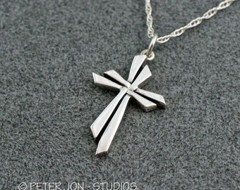 "WEAVE Cross Necklace in Sterling Silver, includes 18"" chain, Cross Pendant,"