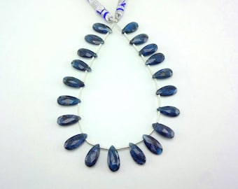"""9"""" Strand Rare Indicolite color Kyanite faceted pear gemstone loose beads 15mm"""
