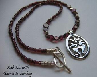 "Kali Ma (Small) 16"" Necklace on Garnet & Silver Beads, Hindu Goddess, Symbolic Jewelry, Sterling Silver"