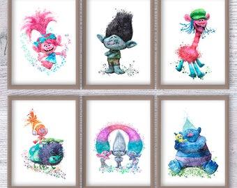 Trolls art print Set of 6 Trolls watercolor poster Trolls wall decor Kids room wall art  Nursery room decoration Wall hanging Gift idea V396