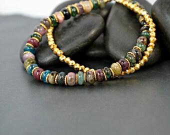 Multi Gem Bracelet, Double Strand Gold Bracelet with Multi Color Gemstones/ Gemstone Bracelet/ Gold Bracelet/ Two Strand Bracelet/ Pyrite