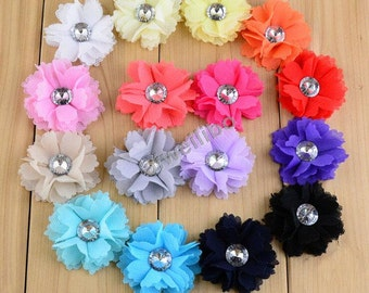 Mesh Flower and Rhinestone Center, Mesh Flowers, Fabric Flowers, Hair Accessories H10002