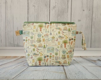 Cute Gardening fabric Large Clutch Project Bag, Cross Stitch Project Bag, Wedge Zipper Bag for Knitting and Crochet. Padded Bag. Zipper bag