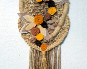 Wall hanging rope tapestry - Flowers