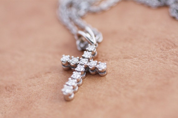 Diamond pendant cross in white gold rose gold or yellow gold aloadofball Gallery