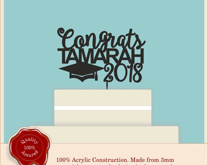 Graduation ''Congrats'' Personalised Cake Topper, University, Degree, Masters