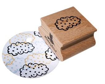 White cloud stamp with spots