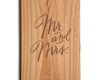 Mr. & Mrs. Lasercut Wood Wedding Card