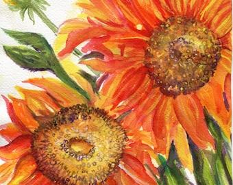 Original  Sunflowers watercolor painting, Flower Watercolor, Floral Wall Art 8 x 10 watercolors paintings original, sunflower decor Artwork