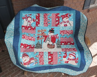 One Week Sale -Homemade Snowman- Be Jolly Christmas Quilt - Made With Hard To Find Fabrics!