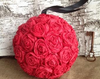 "Paper Rose Flower Pomander Hanging Kissing Ball Crepe - 8"""