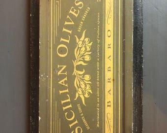 """Vintage """"Art in Motion"""" SICILIAN OLIVES Green Wood Sign by Angela Staehling"""