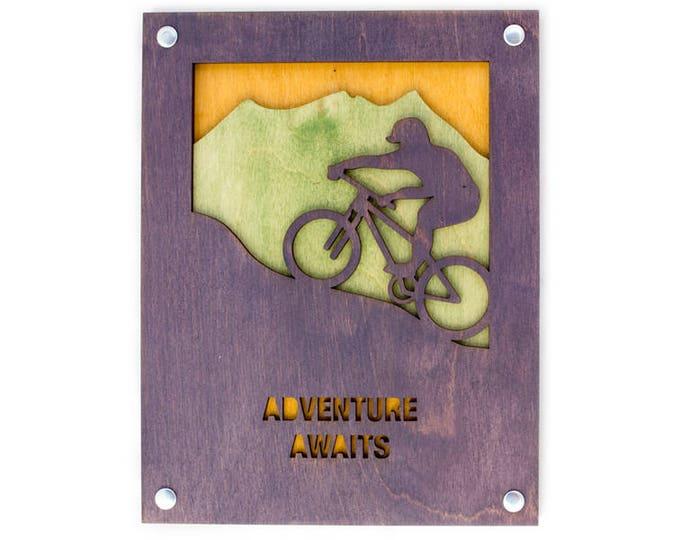 Rustic Wall Art - Mountain Wall Decor - Mountain Bike Scene - Adventure Decor - Mountain Home Art - Mountain Bike Scene - Adventure Gift