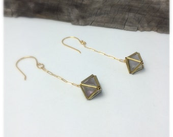Fluorite Diamond Encased in Brass Matrix Drop Earrings