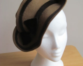 Vintage Inspired 1940s Style Brown Felt Hat