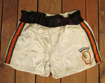 Vintage 1950s Keenan Sporting Goods Satin Boxing Trunks Shorts Henry Peoria,Illinois