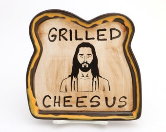 Grilled cheese plate, grilled cheesus, sandwich plate, funny gift, gift for him, novelty gift, religious and inspirational