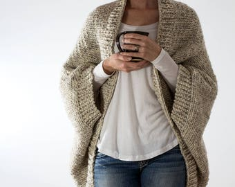 Knitting Pattern - Oversized Scoop Sweater - Knit Cardigan - Knit Jacket - Knit Cocoon - DECISIVENESS