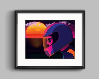 The Getaway Art Print - synthwave, vaporwave, outrun, 80s, retro, portrait, neon, sunset, california