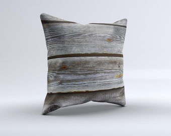 The Aged Wood Planks ink-Fuzed Decorative Throw Pillow