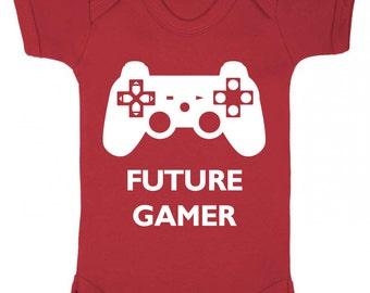 "Baby Playsuit "" Future Gamer "" Gamer  , Cute Baby Grow / Bodysuit"