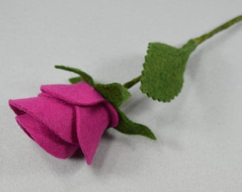 Artificial Rose Made-To-Order*Pink Fake Rose*Felt Flower*Fake Flower*Felt Rose*Stem Flower*Bouquet*Valentine's*Long Stem Rose*Faux Rose
