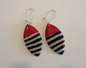 Red silver and B&W stripes earrings