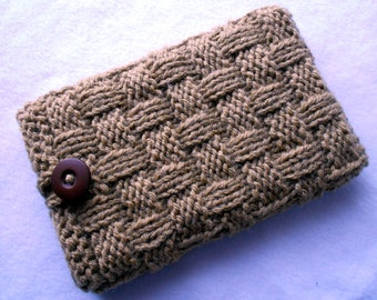 Chunky brown knitted cover Nexus 7 sleeve, case, 7 inch tablet or e-reader