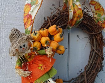Autumn Wreath  Fall Wreath  Scarecrow Wreath  Pumpkin Wreath  Door Wreath  October Wreath  Fall Decor  Grapevine Wreath