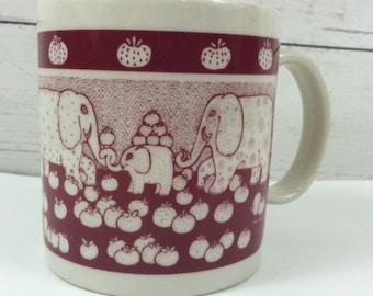 Vintage Taylor & Ng Mug Made in Japan Primitive Elephants 1978