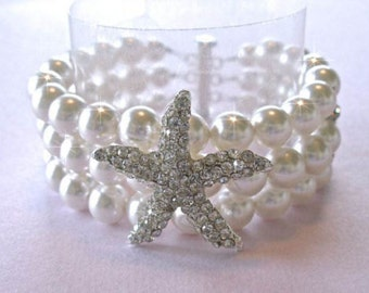 Handmade Crystal Starfish & Pearl Bracelet, Beach Wedding (Pearl-494)