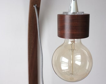 Walnut Bent Wood Wall Lamp with Cloth Cord