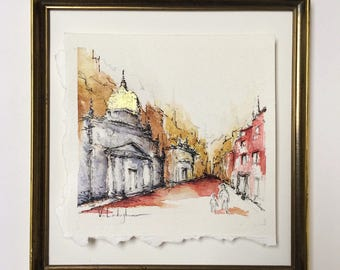 "Original Watercolor Painting with Vintage Frame - 8"" x 8 1/2"""