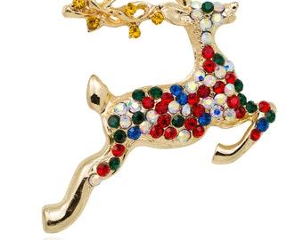 Gold-tone Christmas Hopping Deer Brooch Pin
