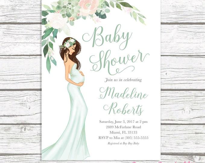 Gender Neutral Baby Shower Invitation, Green Baby Shower Invitation, Boho Pregnant Mom Baby Shower Invite, Baby Bump. Succulent Baby Shower