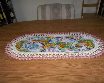 Unicorn Table Runner, Best Doilies Fabric Table Runner Crocheted Centerpiece Table Topper Table Cloth Dresser Scarf Gift