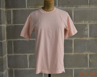 """70's Pink T Shirt,Small,Blank, USA Made,Vintage Shirt Fruit of the Loom,34"""" Chest,Good Condition"""