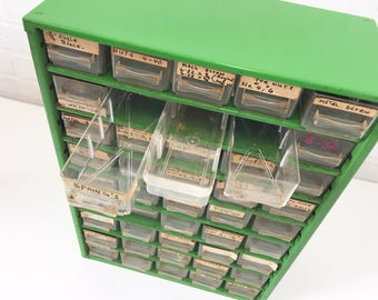 Vintage Green Raaco Metal Parts Cabinet, 45 Storage Bins, Removable Drawers, Portable Office Craft Storage