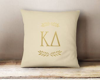 KD Kappa Delta Letters Foil Pillow Choose Your Pillow Color