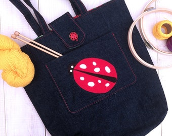 Denim knitting, craft project tote with appliqué