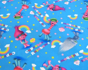 Trolls Cotton Fabric, Cupcakes Rainbow Trolls Fabric, Poppy Fabric, Rainbow Fabric, Fabric By The Year, Cartoon Fabric, Trolls Blue Fabric