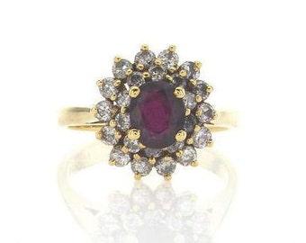Vintage ruby ring, diamond ruby ring, vintage style ring, antique ruby ring, vintage engagement ring, flower ring gold, Diana diamond ring