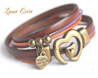 Bracelet Leather Brown Orange and purple - heart - heart charm