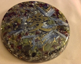 Orgone Super Powerful, Thin ASG charging disc with Rhodizite, Shungite, Kyanite, Peridot, Garnet, 3 in by 1/4 in
