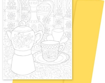 A5 Colouring Card- Coffee Pots