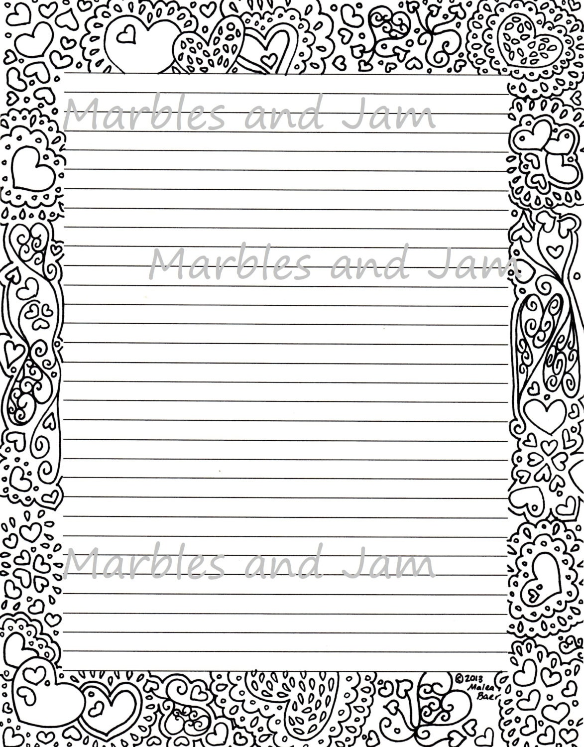 Hearts border lined printable stationery and coloring page zoom spiritdancerdesigns Image collections