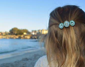 Opalescent Blue Sea Shell trio Barrette, fresh water pearl, Beach Weddings, Mermaid Costume