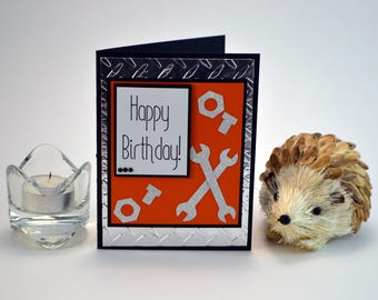 "Happy Birthday Card, Male Happy Birthday Card, Handmade Birthday Card, Birthday Greeting Card, Birthday Card with ""Tools"""