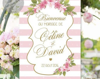 """Customizable """"welcome - Flower"""" wedding table - for a custom decoration"""
