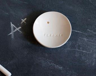 Genuine 22k GOLD STAR for TEACHER - ceramic ring dish, trinkets